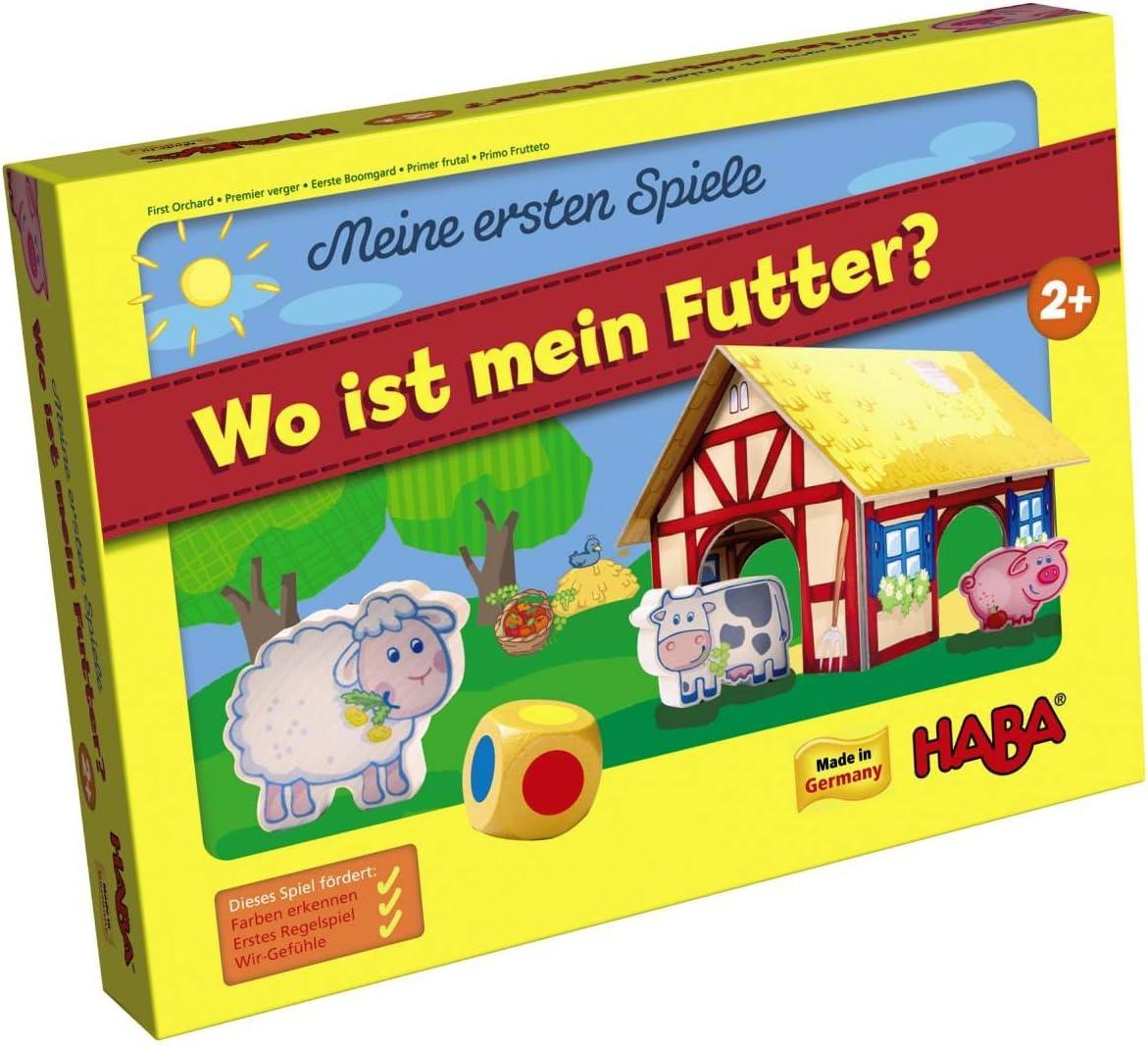 HABA 4679 Wo ist Mein Futter? - Juego Infantil sobre la Granja (en alemán): Amazon.es: Juguetes y juegos