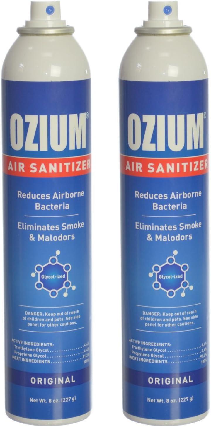 Ozium Air Sanitizer Reduces Airborne Bacteria Eliminates Smoke & Malodors Spray Air Freshener, Original, 8 Oz (2 Pack), Natural