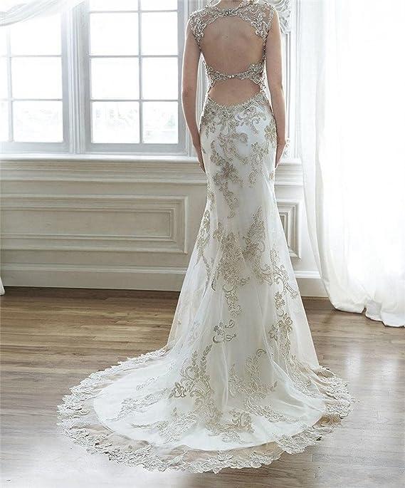 dressvip - Vestido de novia - Escotado por detrás - Mujer: Amazon.es: Ropa y accesorios