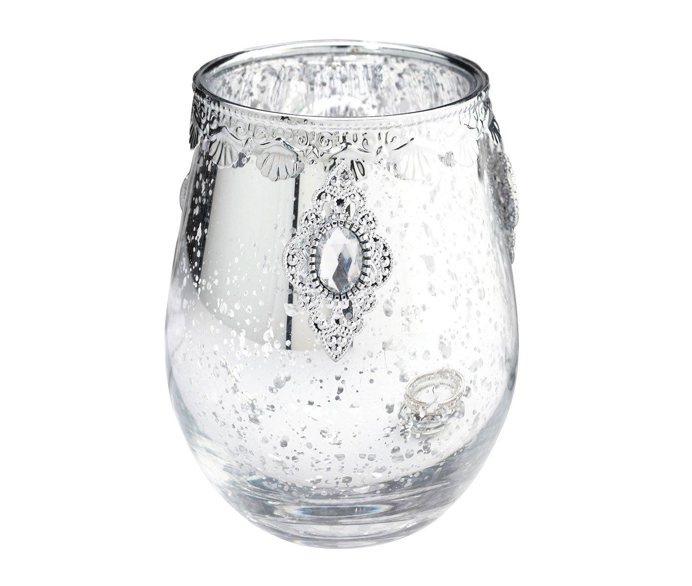 Lillian Rose argenté/Bougeoir en Verre, 8,9x 11,4x 8,9cm, Verre/métal CA941