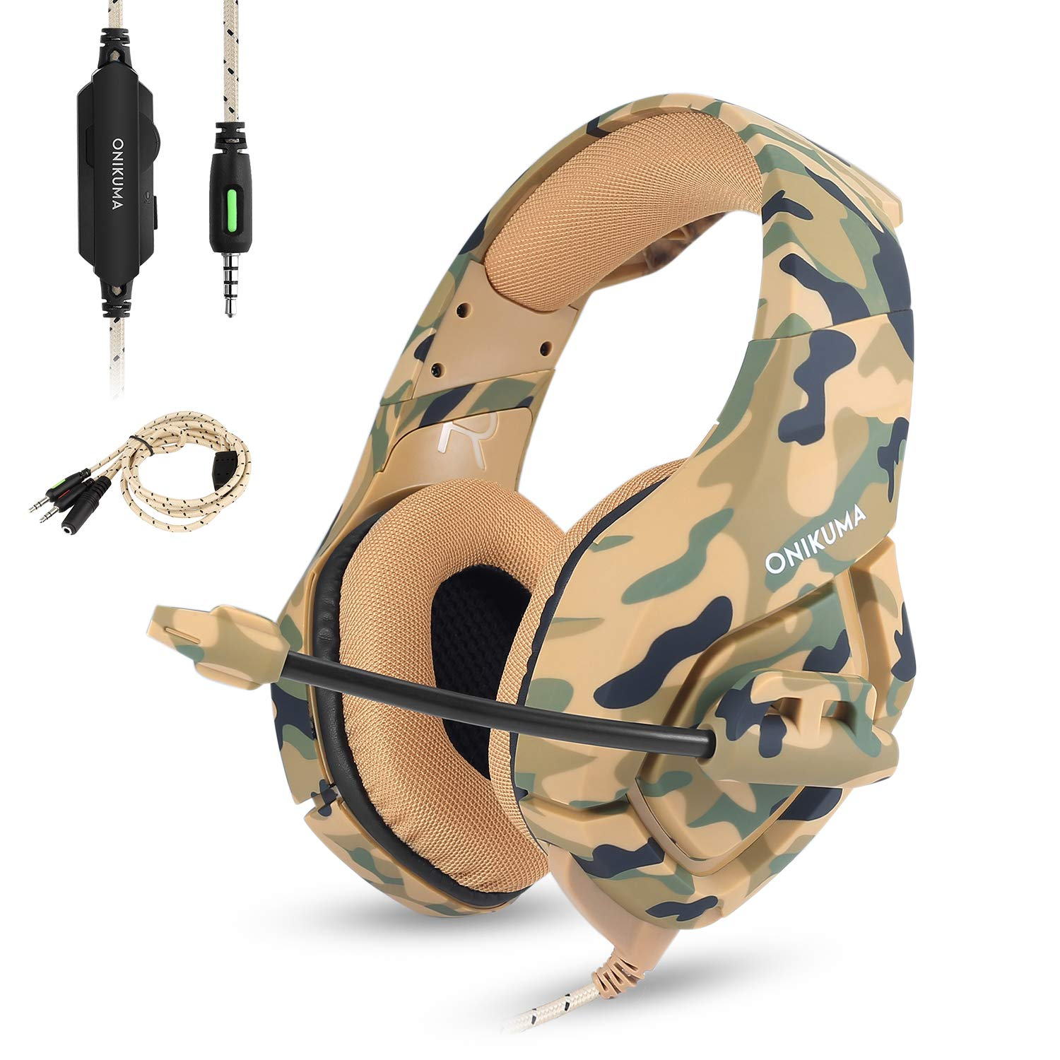 Gaming Headset as Xbox One Headset PS4 Headset Mic Cell Phone PC(Camo Headset),Stereo 3.5mm Over Ear Headphones Noise Canceling Volume Control (Camouflage)