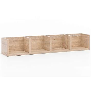 FineBuy Design Hängeregal Bücherregal FB12010 mit 4 Fächer 92x16,5x16,5 cm  | Eckregal modern | Schmales Wandregal | CD Aufbewahrung Wand | Regal zum  ...