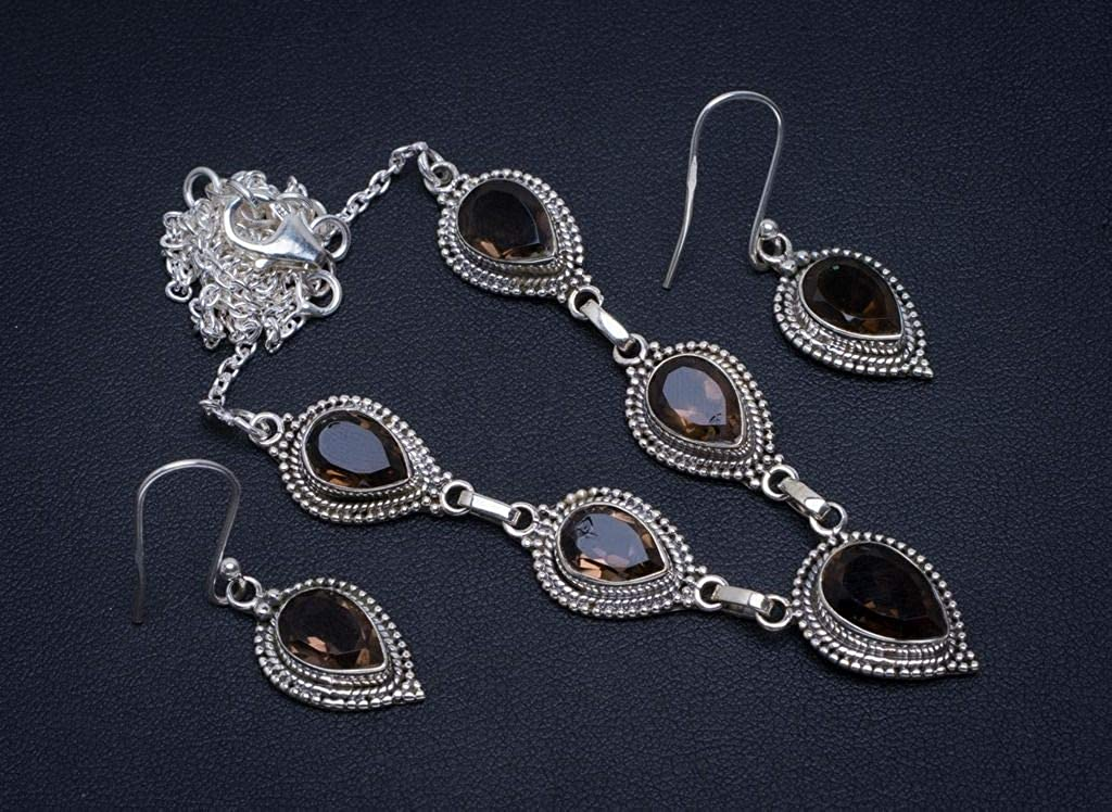 Natural Smoky Quartz 925 Sterling Silver Jewelry Set Necklace 18.5 Earrings 1.5 A3340