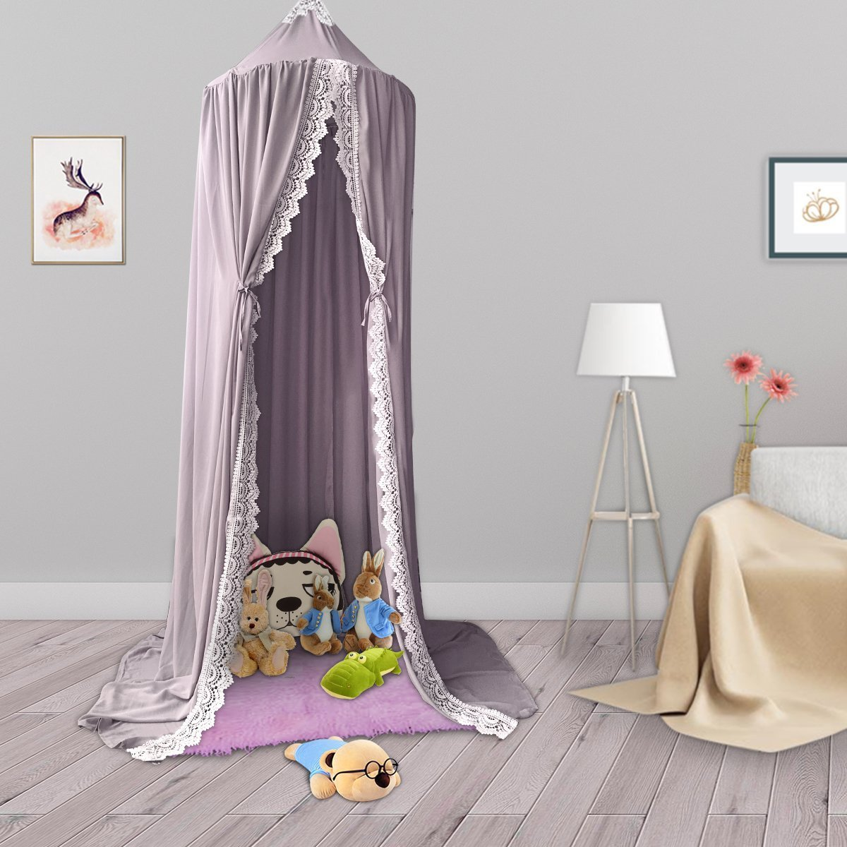 Kids Cotton Bed Canopy, Cotton Mosquito Net, Kids Princess Play Tents, Room Decoration for Baby (Grey)