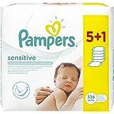 Pampers Feuchttücher Sensitive Promopack 5 Packungen + 1 Gratis, 2er Pack (2 x 336 Tücher)