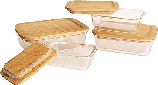 Belle Maison - Juego de 4 recipientes de cristal para alimentos ...
