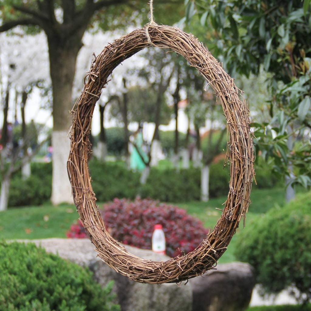 Qintaiourty Easter Decorations Easter Christmas Easter Rattan Wreath Door Window Wall Hanging Garland Bird Hoop Ring