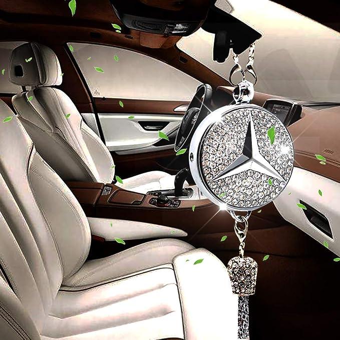 Villsion Auto Logo Duft Diffusor Auto Lufterfrischer Rückspiegel Anhänger Parfüm Duftspender Autoduft Für Mercedes Benz Mit Geschenkbox Auto