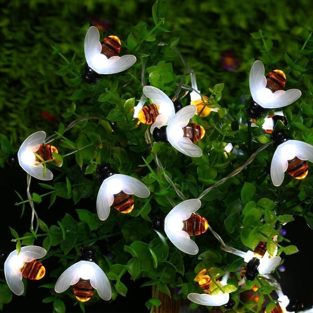 White Solar String Lights Honeybees 19.7ft 30 LED 8 Modes Solar Garden Lights Waterproof Solar Powered Fairy Lights for Outdoor Garden Decor