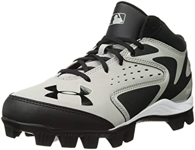 b3dd1ed95 Under Armour Kids Leadoff Mid RM JR Baseball Cleat Baseball Grey Black Size  10C