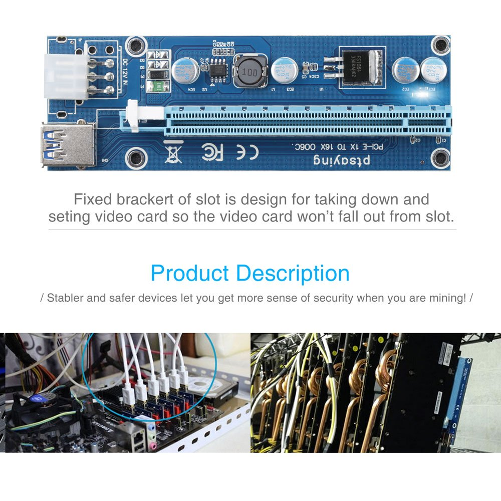 PCIe Riser Ptsaying PCI-E 16x 8x 4x 1x Powered Riser Adapter Card With LED hint w/ 60cm USB 3.0 Extension Cable & 6-Pin PCI-E to SATA Power Cable - GPU Riser Adapter - Ethereum Mining ETH(3 pack) by Ptsaying (Image #7)