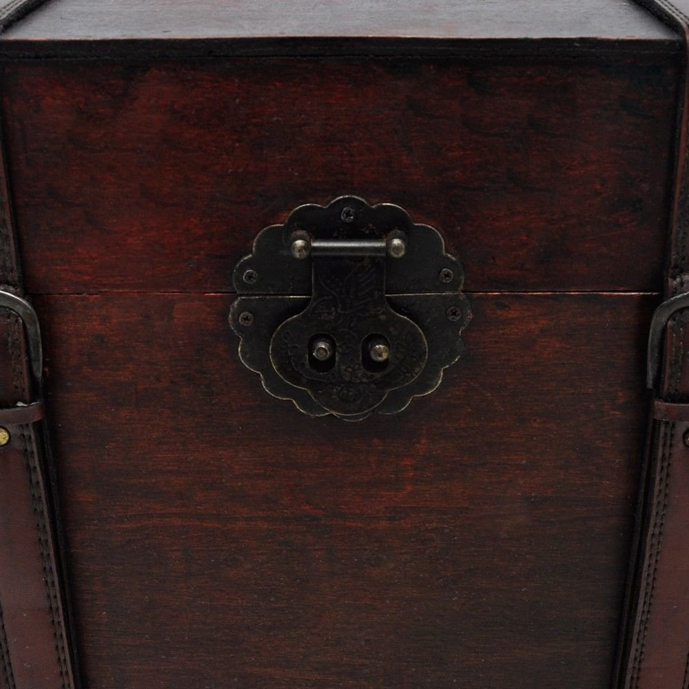 Vintage Antique Style Large Wooden Treasure Storage Trunk Blanket Steamer Chest by Daily Steals (Image #5)