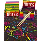 Purple Ladybug Rainbow Scratch Off Mini Art Notes +2 Wooden Stylus Set: 150 Sheets of Rainbow Scratch Paper for Kids Arts & C