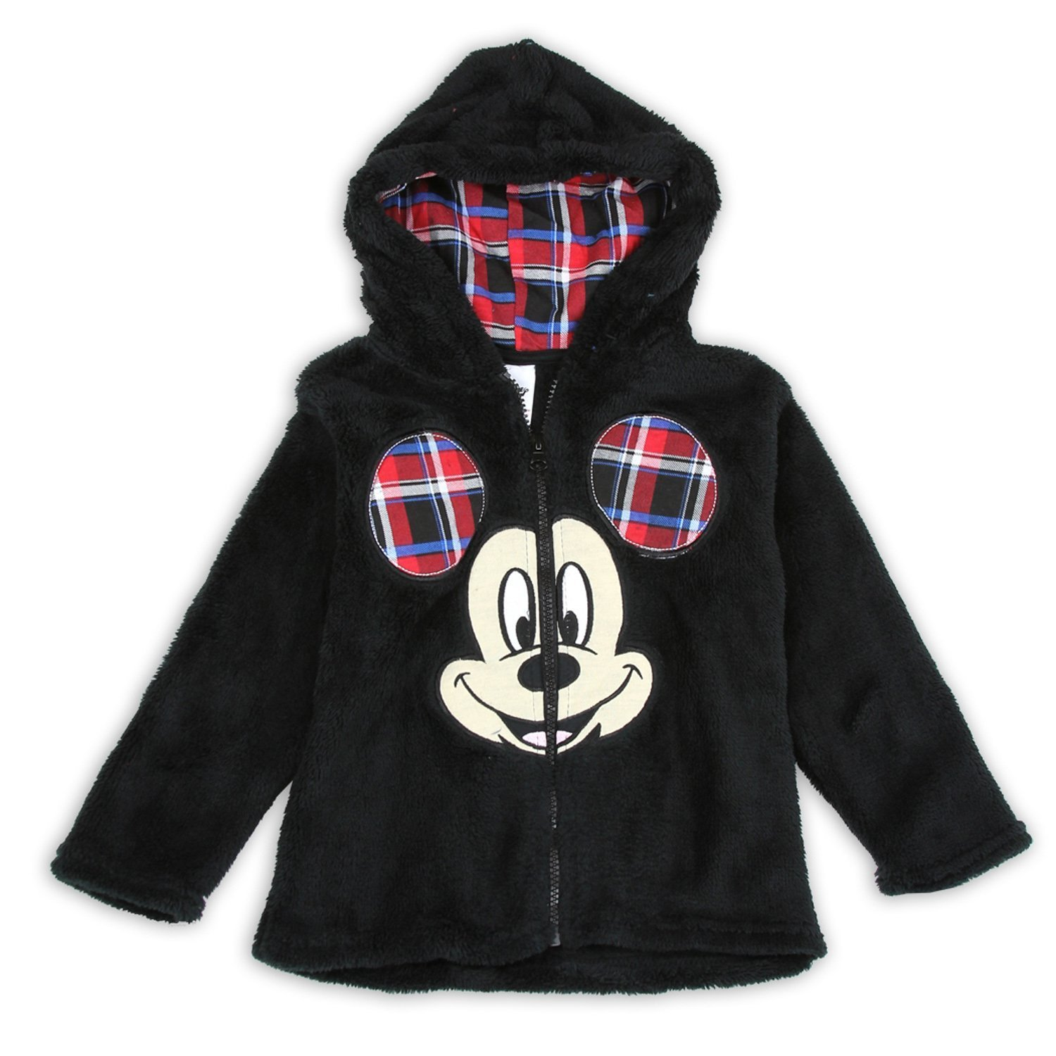 Disney Little Boys Toddler Mickey Mouse Plush Zip Hoodie Jacket