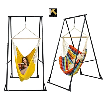Fantastic Kt Indoor Outdoor Multi Purpose Hammock Chair Stand Foldable Portable Height Adjustable Stable And Durable Hanging Chair Stand Short Links Chair Design For Home Short Linksinfo