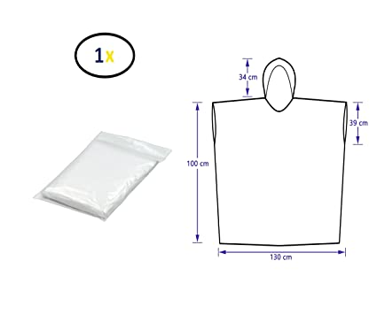 Thorani Poncho de Lluvia Transparente de 140-190 cm - Ligero, Compacto, Impermeable