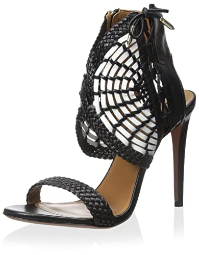 dad756a5477 Amazon.com | Aquazzura Women's Dress Sandal, Black/White, 37 M EU/7 ...