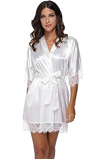 ac8af5f79a Women s Sexy Satin Short Kimono Robe with Lace Trim Bridal Party Robe  Sleepwear