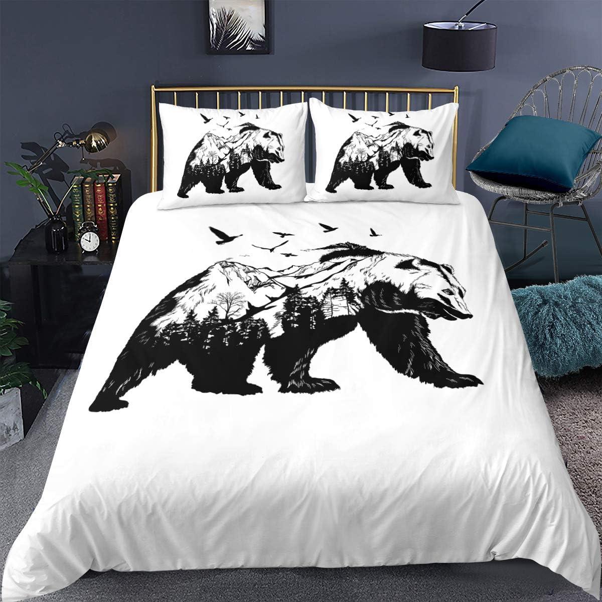 Katie Cat Duvet Cover Black White Bedding Set Quilt Bedspread Duvet Cover Set with 2 Pillow Cases
