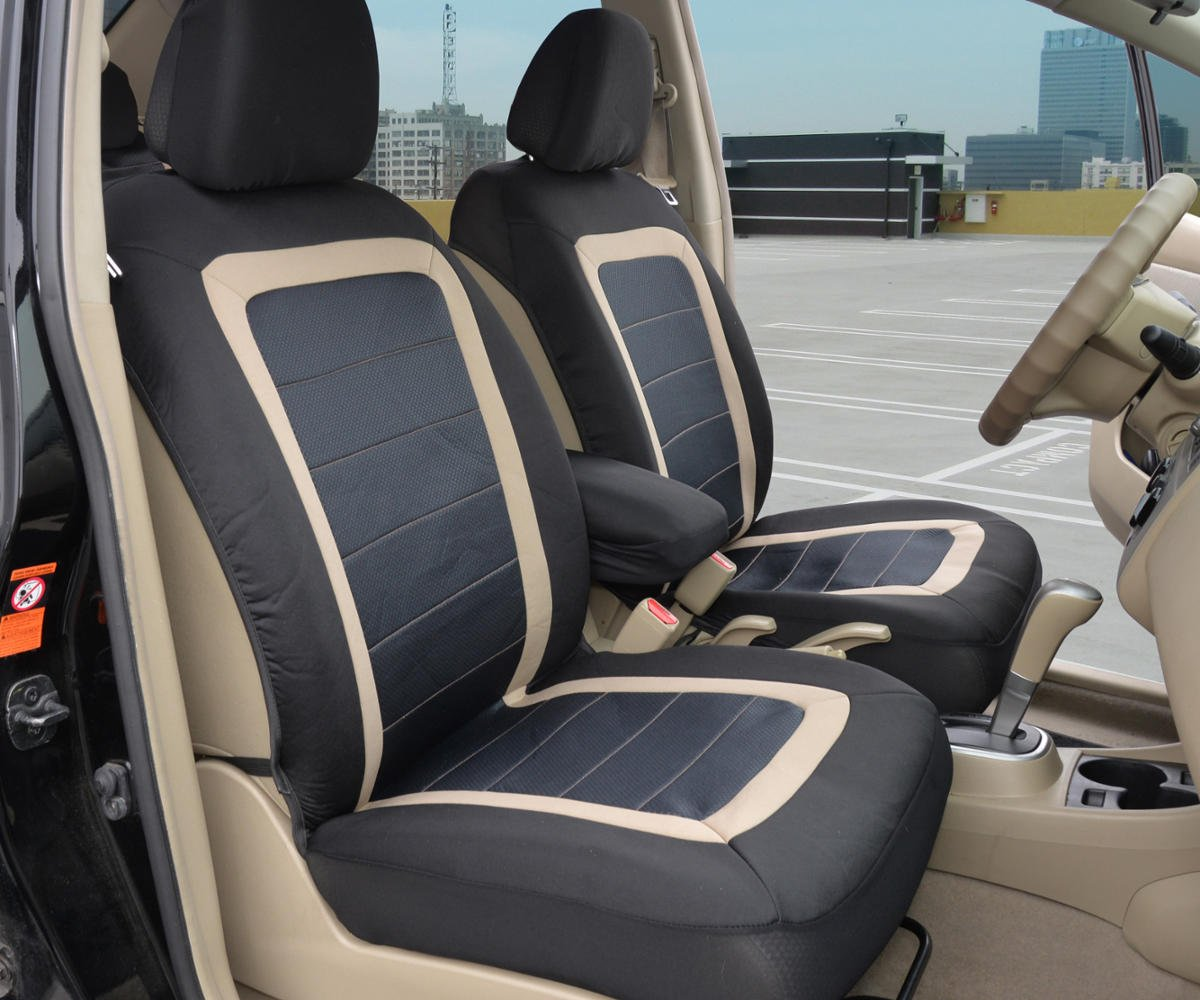 BDK Black Car Seat Covers 2pc Checkered Cloth Scottsdale style Premium High Back