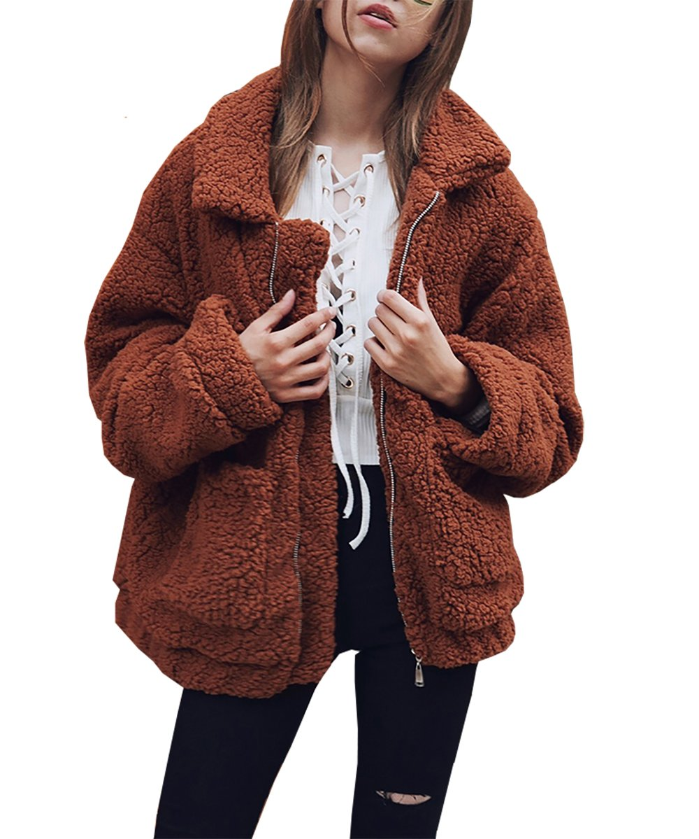 PRETTYGARDEN Women's Fashion Long Sleeve Lapel Zip Up Faux Shearling Shaggy Oversized Coat Jacket with Pockets Warm Winter (Dark Brown, X-Large)