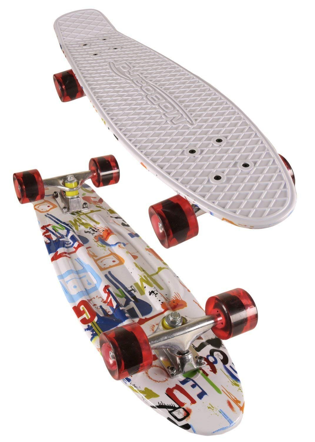 MoBoard Classic 27'' Skateboard   Pro and Beginner   27 inch Vintage Style with Interchangeable Wheels, Enhanced Bearings   Portable, Lightweight   Durable Rails. (Red - Spray Paint) by MoBoard