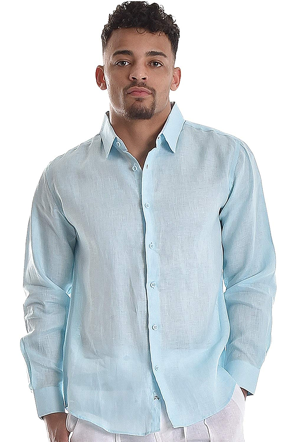314a15382f bohio Mens 100% Pure Linen White Casual Long Sleeve Shirt (S ~ 4XL) -  MLS744 at Amazon Men's Clothing store: