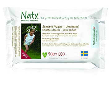Nature Babycare Eco Fragrance-Free Wipes Travel Pack, 20 wipes per pack, 12