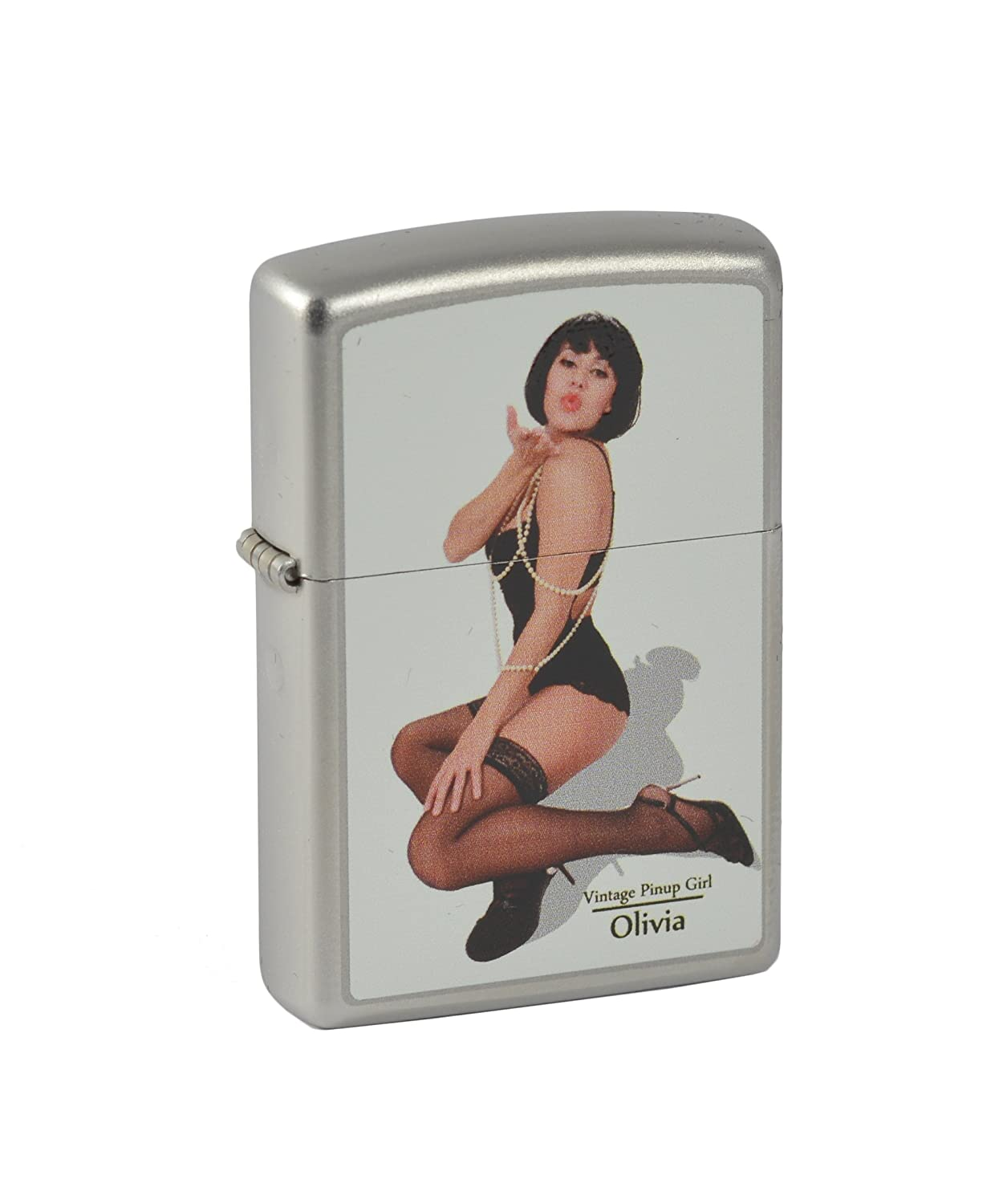 Zippo 2.003.229 Feuerzeuge Vintage Pin Up Girl Olivia - Limited Edition 001 500-500 500 - MM - Collection 2012 - satin Finish