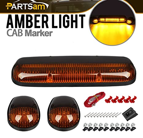 amazon com partsam 3pcs amber led cab roof marker light top running Silverado 3500 Dually partsam 3pcs amber led cab roof marker light top running lights w wiring replacement for