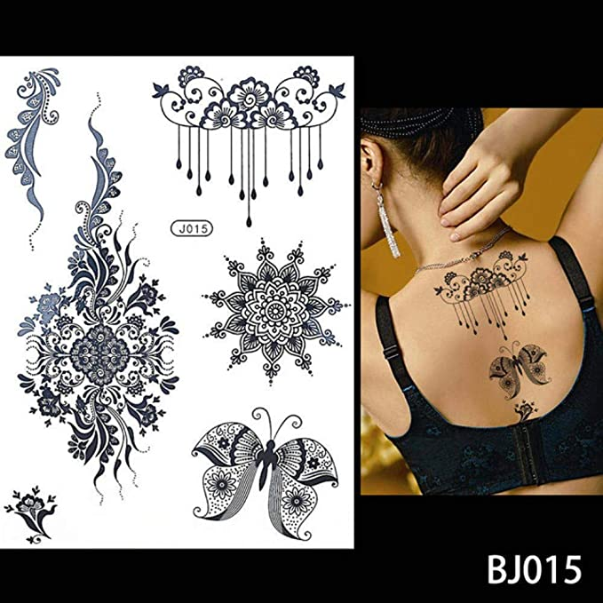 Yangll Moda Flash Mujeres Mujeres Tatuaje De Henna Joya De Encaje ...