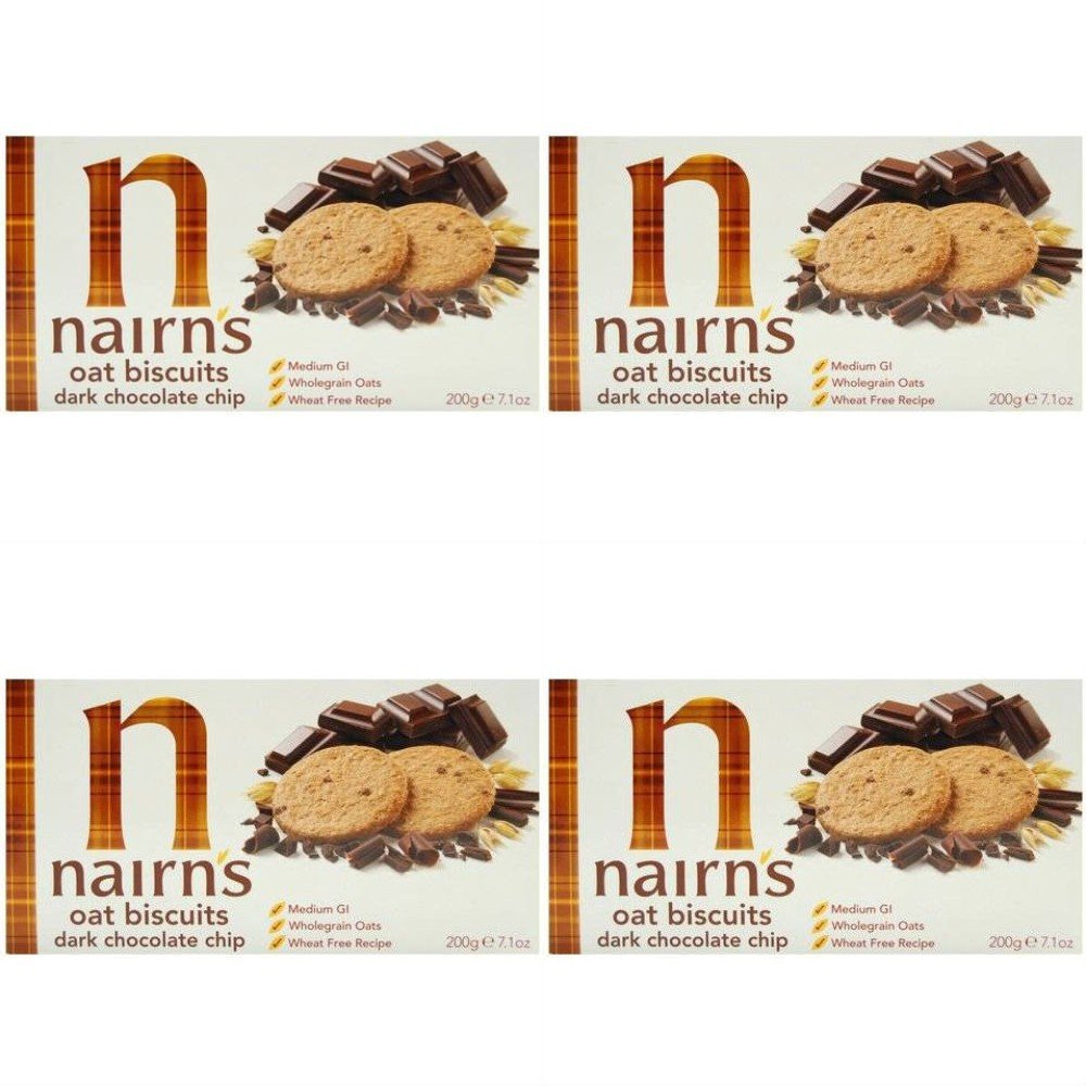 (4 PACK) - Nairns - Dark Choc Chip Oaty Biscuits | 200g | 4 PACK BUNDLE NAIRN' S OATCAKES