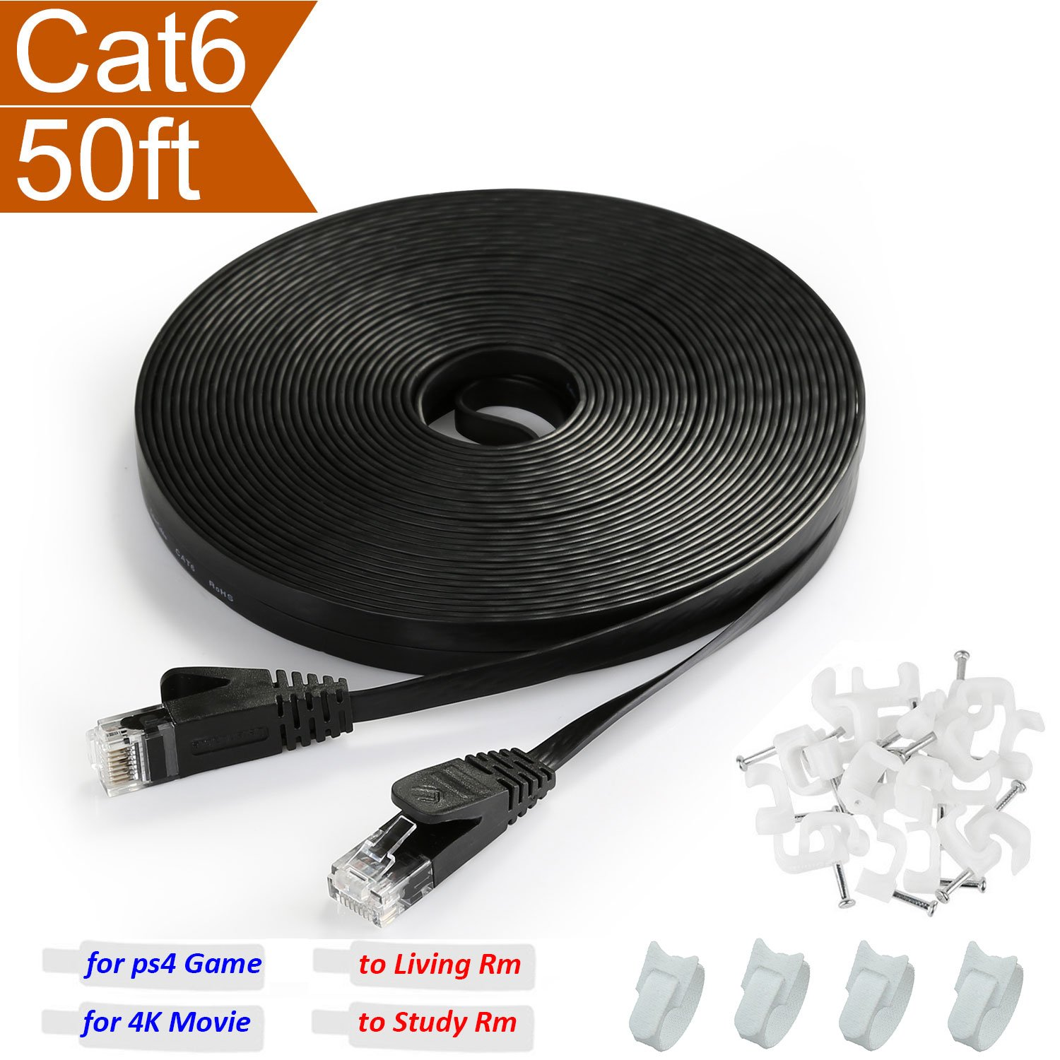 Best Rated In Cat 5 Ethernet Cables Helpful Customer Reviews Cat5e Wiring On Figure 4 Diagram For An Crossover Cable Black Flat 50 Ft 6 With Rj45 Connector Thin Slim Fast Internet
