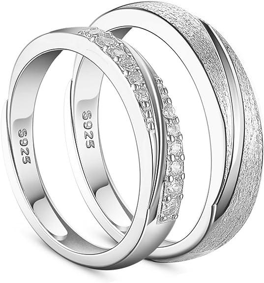 SHEGRACE Bagues en Pur Argent 925 Sterling Paire de Bagues pour Les Couples Bijoux Femme Hommes