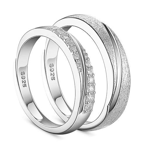 SWEETIEE Plata de ley 925 amantes de los anillos de pareja para, grabado esmerilado y