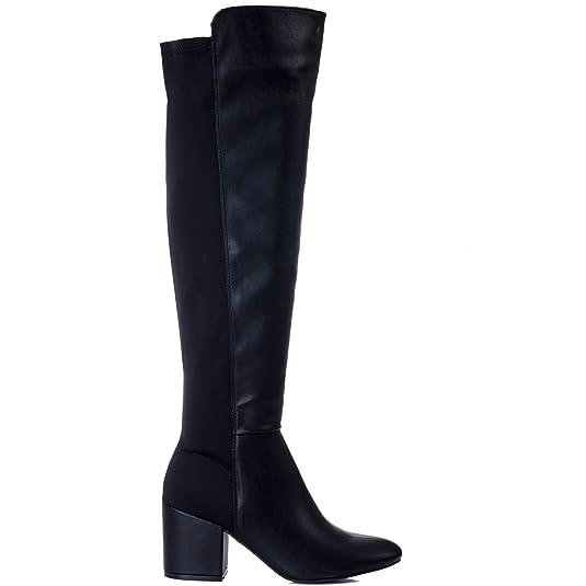 75108ca6cad Spylovebuy AVVA Women s Block Heel Over Knee Tall Stretch Boots   Amazon.co.uk  Shoes   Bags