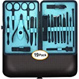 Manicura y Pedicura - MUZENS 19 en 1 Manicura Set acero inoxidable pedicura kit personal Manicure Pedicure Ear Set Kit para m