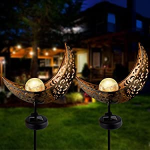 Outdoor Solar Lights Pathway - Solar Lights Outdoor Decorative, Moon Cracked Glass Globe Garden Lights Solar Powered ,Garden Stake Metal Light,Waterproof Auto On/Off Deco Yard,Patio,Lawn (2 Pack)