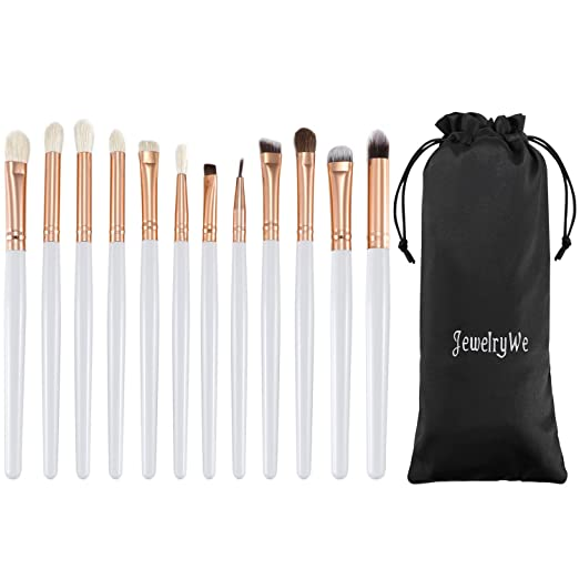 JewelryWe 12pcs Eye Brush Set, Cosmetics Eyeliner Eyeshadow Blending Brushes (White with Rose Golden)