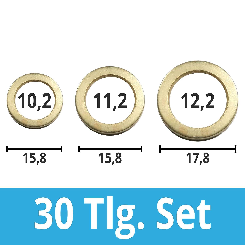 25, 13,2 vermessingt Fitschenringe Stahl vermessingt und blau verzinkt 9,2//10,2//11,2//12,2//13,2