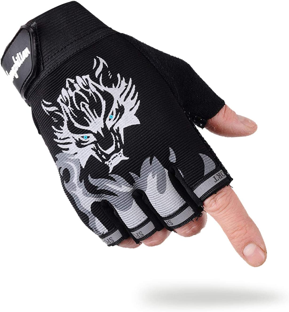Kids Gloves Microfiber Non-Slip Sports Roller-Skating Outdoor Breathable Half Finger Skateboard Bike Cycling Padded Soft Gloves for Boys Girls