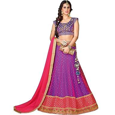 586b12958b Vasu Saree Purple Pink Net Silk Engagement wear Lehenga Choli: Amazon.in:  Clothing & Accessories