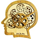 Kintrot Moving Gear Clock Retro Wooden Quartz Wall Clock Creative Home Decorative Clock (3D Brain)