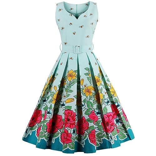 CharMma Womens Vintage V-Neck Floral Print Rockabilly Swing Tea Cocktail Dress