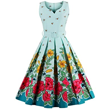 CharMma Womens Vintage V-Neck Floral Print Rockabilly Swing Tea Cocktail Dress (XXXX-