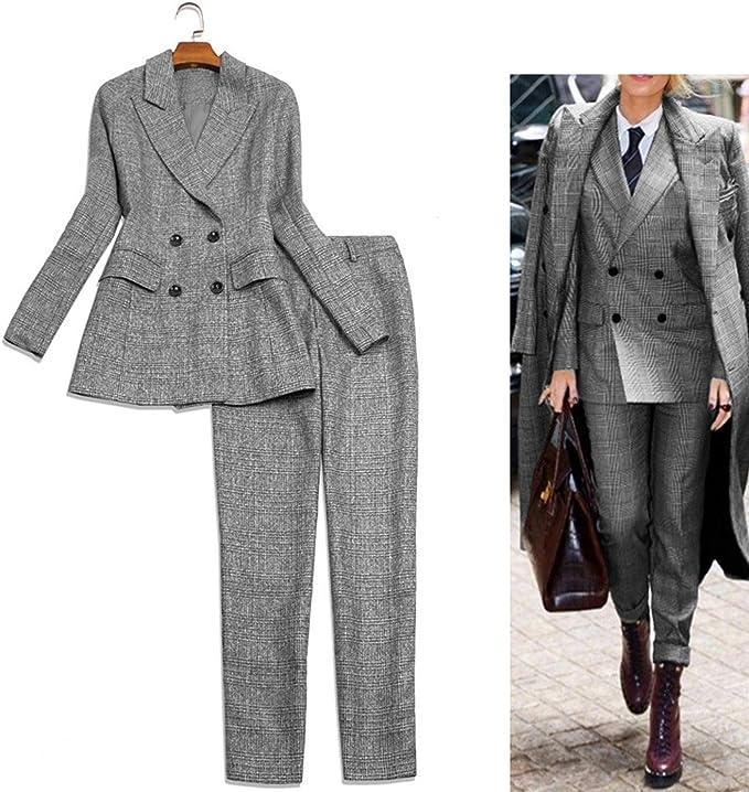 Amazon.com: Pantalones para mujer traje plaqueta Blazer ...