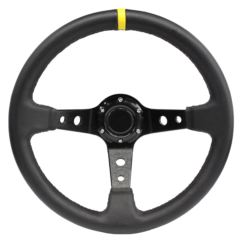 MODAUTO Volante Sportivo Universale Diametro 350mm Colore Nero e Cuciture Rosse Displaced di Pelle Sintetica Modello G016-IT