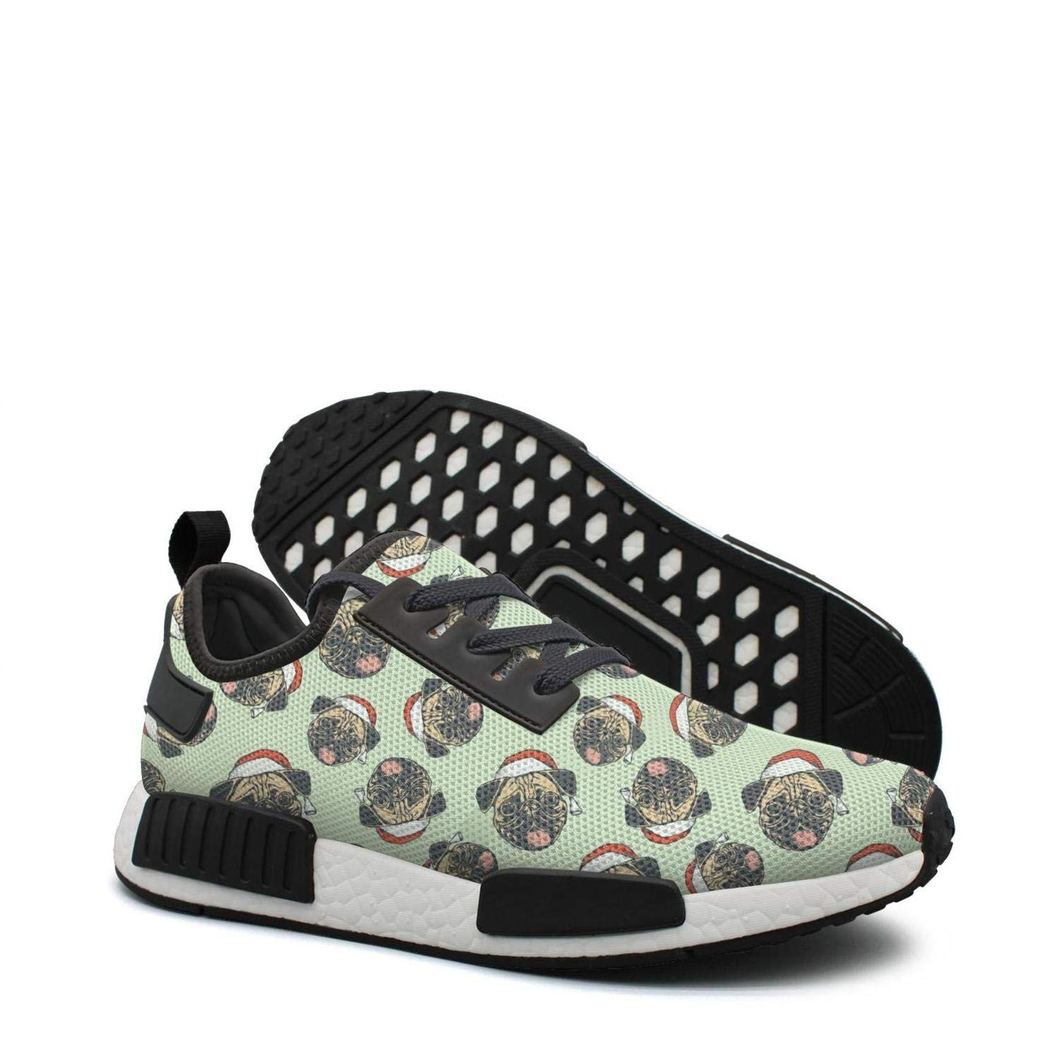 ktyyuwwww Women Colorful Camping Sneaker Pug Christmas Pug Puppies Novelty Casual Running Shoes