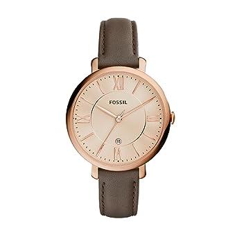FOSSIL Montre Jacqueline femme Montre bracelet boyfriend bracelet en cuir gris Boîte de rangement et pile incluses