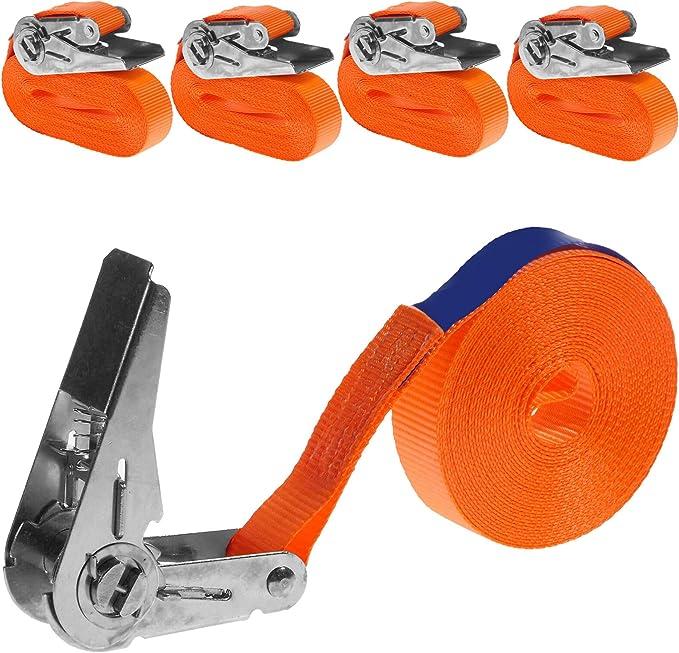 Industrie Planet 4 Stück 800kg 6m Spanngurte Mit Ratsche 1 Teilig Einteilig Zurrgurte Ratschengurte 25mm Orange 800 Dan 0 8t Auto